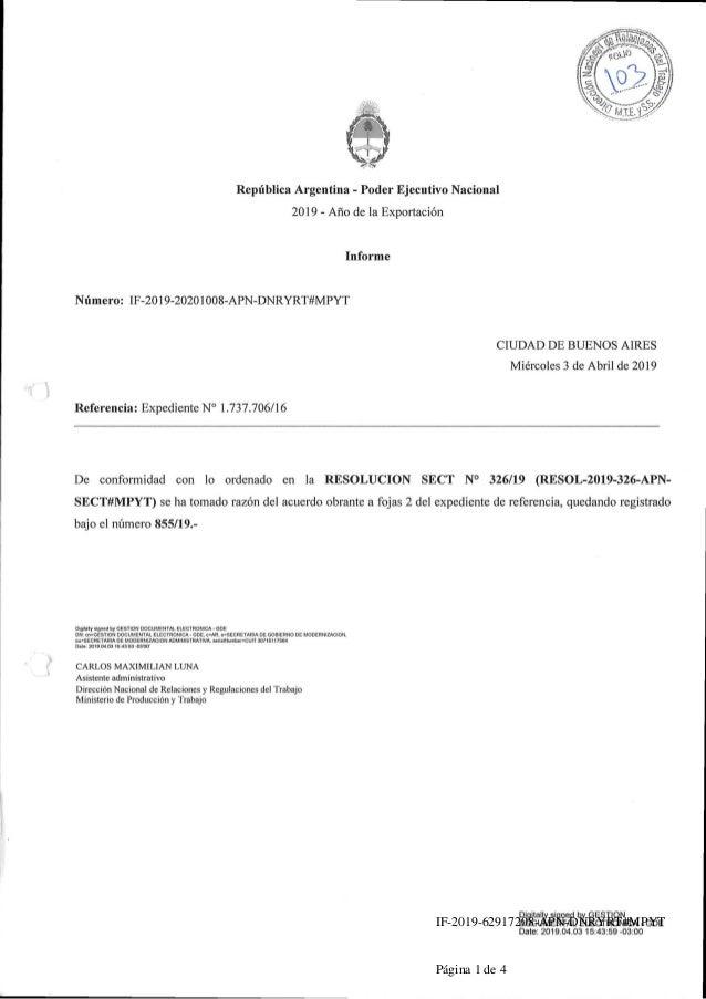 Republica Argentina - Poder Ejecutivo Nacional 2019 - Ano de la Exportacion Informe Numero: IF-2019-20201008-APN-DNRYRT#MP...