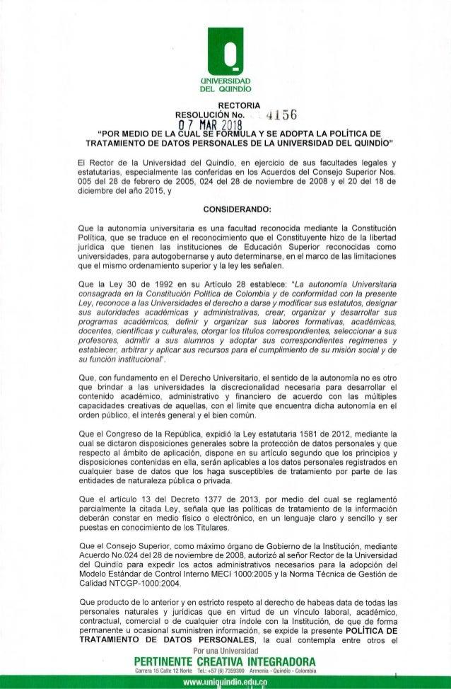"""UNIVERSIDAD DEL QUINDÍO RECTORIA RESOLUCIÓN No. 07 MAR 2018 """"POR MEDIO DE LA CUAL SE FORMULA Y SE ADOPTA LA POLÍTICA DE TR..."""