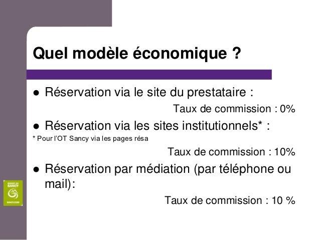Quel modèle économique ?   Réservation via le site du prestataire :                                        Taux de commis...