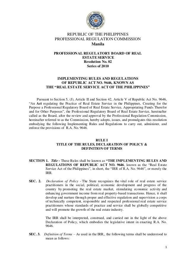 REPUBLIC OF THE PHILIPPINES                  PROFESSIONAL REGULATION COMMISSION                                 Manila    ...
