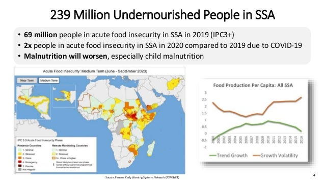 239 Million Undernourished People in SSA • 69 million people in acute food insecurity in SSA in 2019 (IPC3+) • 2x people i...