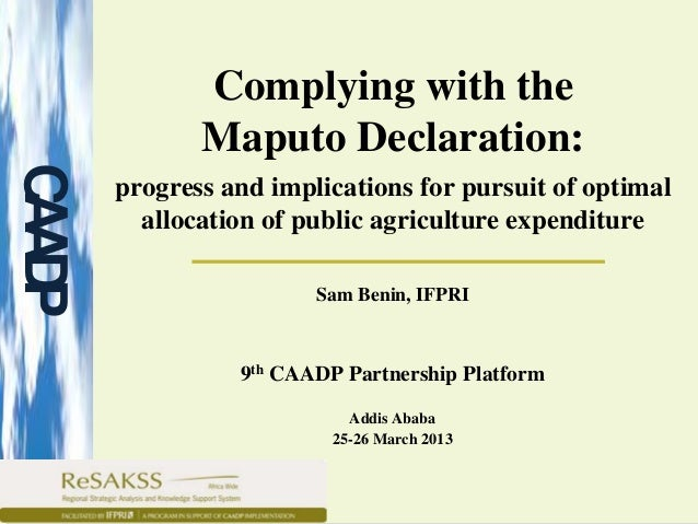 Complying with the             Maputo Declaration:CAP      progress and implications for pursuit of optimal AD        allo...