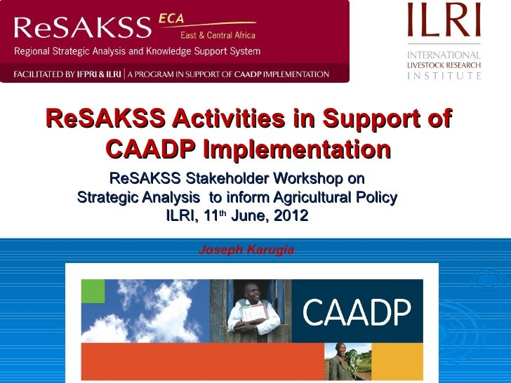 ReSAKSS Activities in Support of    CAADP Implementation       ReSAKSS Stakeholder Workshop on  Strategic Analysis to info...