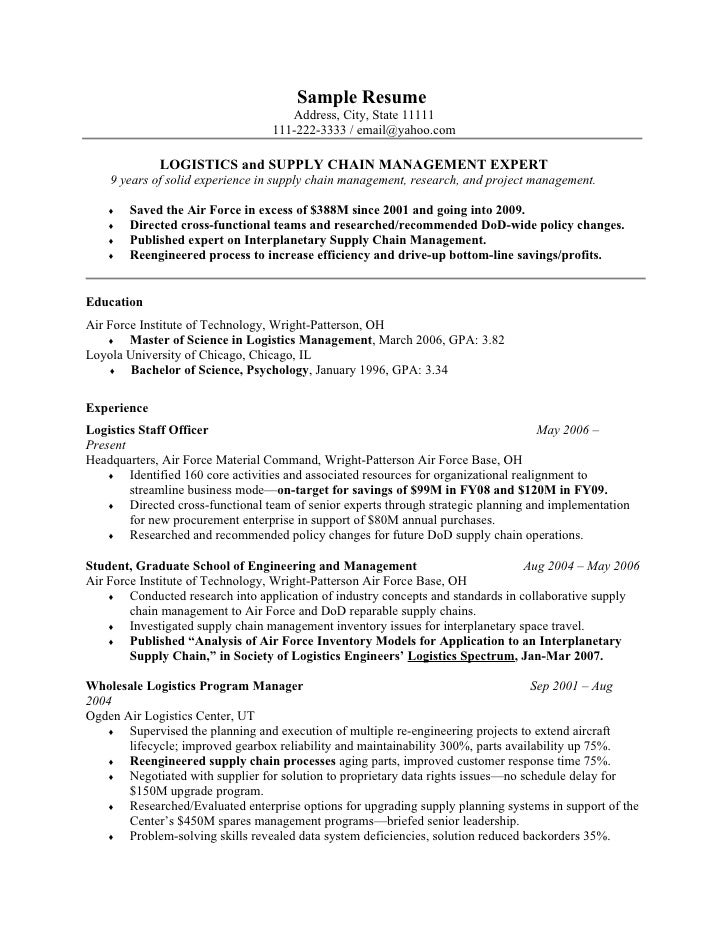 Military supply resume