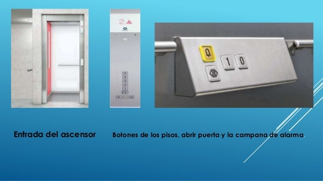 Entrada del ascensor Botones de los pisos, abrir puerta y la campana de alarma.