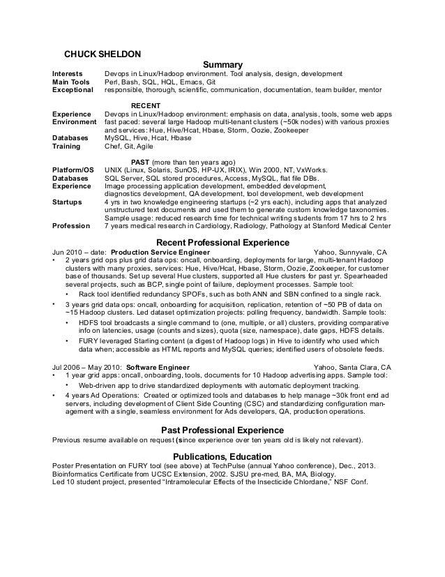 CHUCK SHELDON Summary Interests Devops In Linux/Hadoop Environment. Tool  Analysis, Design,  Devops Resume