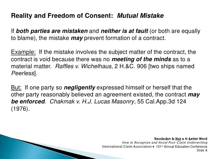 mutual mistake in contract law Tennessee breach of contract cases can sometimes be defended successfully by asserting the defense of mutual mistake here is a hypothetical example of a case in which the defense of mutual mistake would squarely apply: seller sells a.