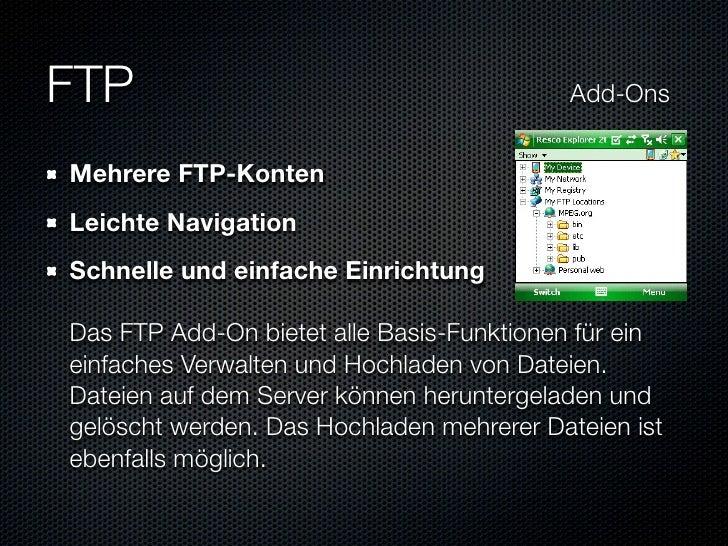FTP                           Add-Ons    Mehrere FTP-Konten  Leichte Navigation  Schnelle und einfache Einri...
