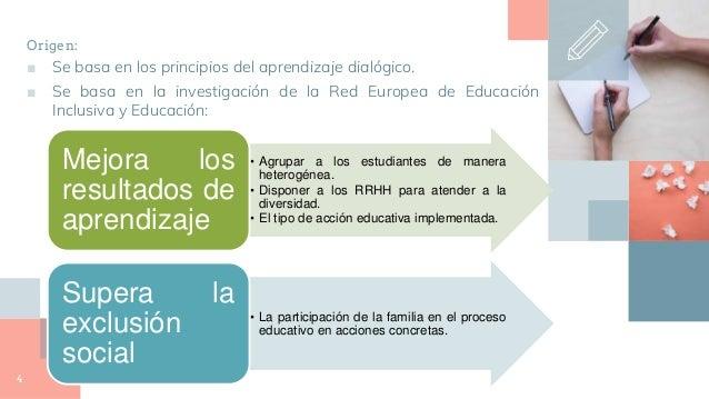 Origen: ■ Se basa en los principios del aprendizaje dialógico. ■ Se basa en la investigación de la Red Europea de Educació...