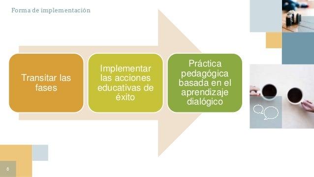 8 Transitar las fases Implementar las acciones educativas de éxito Práctica pedagógica basada en el aprendizaje dialógico ...