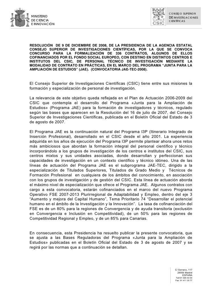 CONSEJO SUPERIOR MINISTERIO                                                                 DE INVESTIGACIONES DE CIENCIA ...
