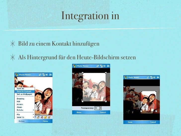 Integration in  Bild zu einem Kontakt hinzufügen  Als Hintergrund für den Heute-Bildschirm setzen