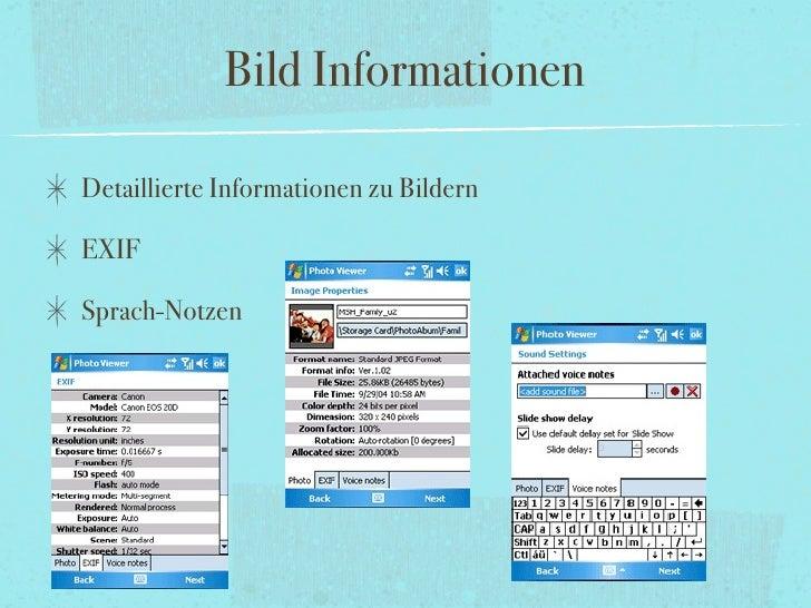 Bild Informationen  Detaillierte Informationen zu Bildern  EXIF  Sprach-Notzen