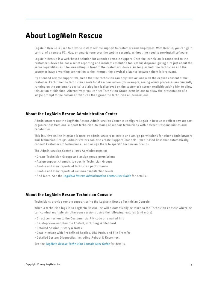 Logmein rescue getting started guide - Logmein rescue technician console mac ...
