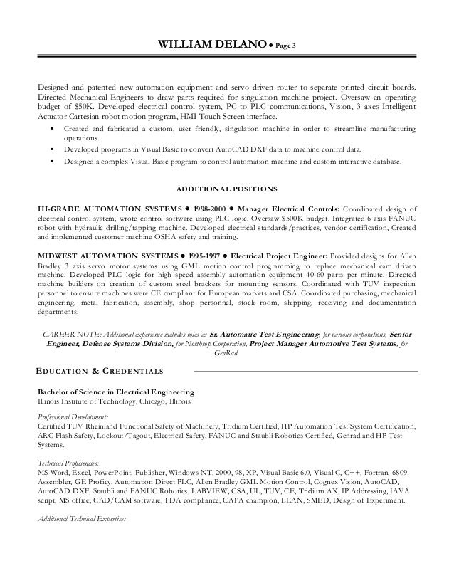 3 - Motion Control Engineer Sample Resume