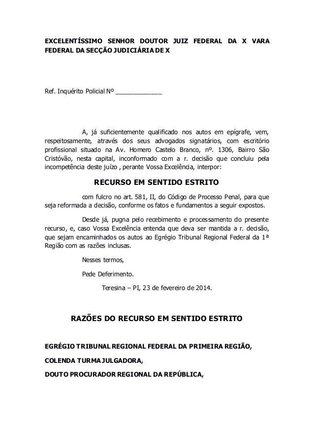 EXCELENTÍSSIMO SENHOR DOUTOR JUIZ FEDERAL DA X VARA  FEDERAL DA SECÇÃO JUDICIÁRIA DE X  Ref. Inquérito Policial Nº _______...