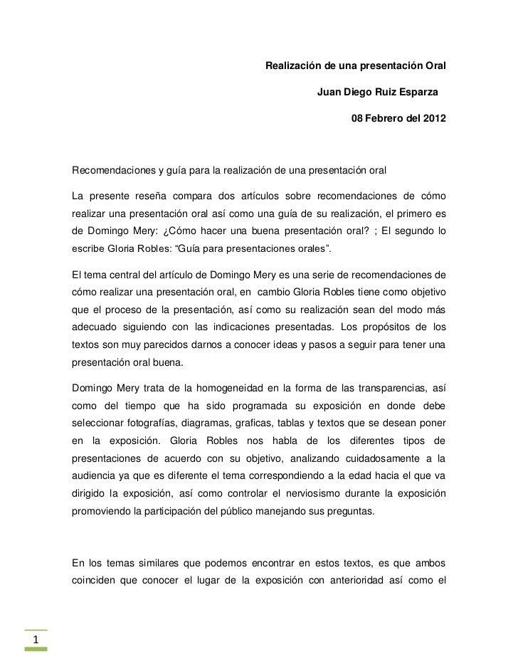 Realización de una presentación Oral                                                         Juan Diego Ruiz Esparza      ...