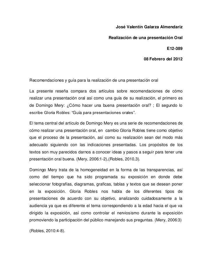 José Valentín Galarza Almendariz                                          Realización de una presentación Oral            ...