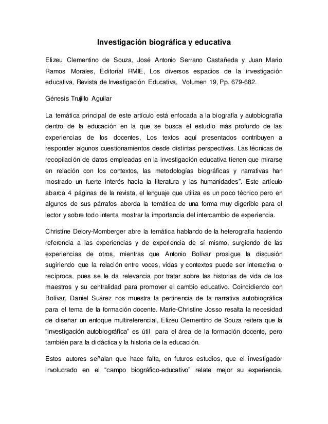Investigación biográfica y educativa  Elizeu Clementino de Souza, José Antonio Serrano Castañeda y Juan Mario  Ramos Moral...