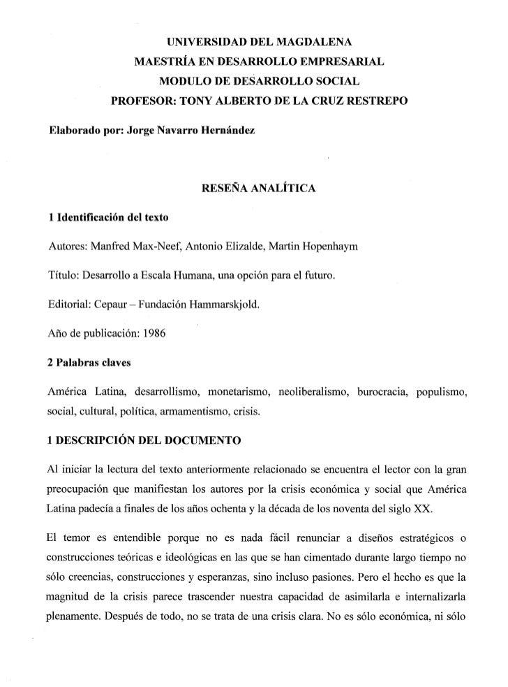 Reseña analitíca descripción y ejemplo