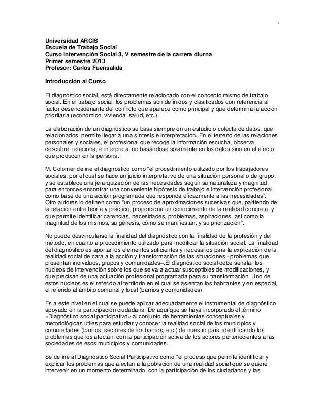 1Universidad ARCISEscuela de Trabajo SocialCurso Intervención Social 3, V semestre de la carrera diurnaPrimer semestre 201...