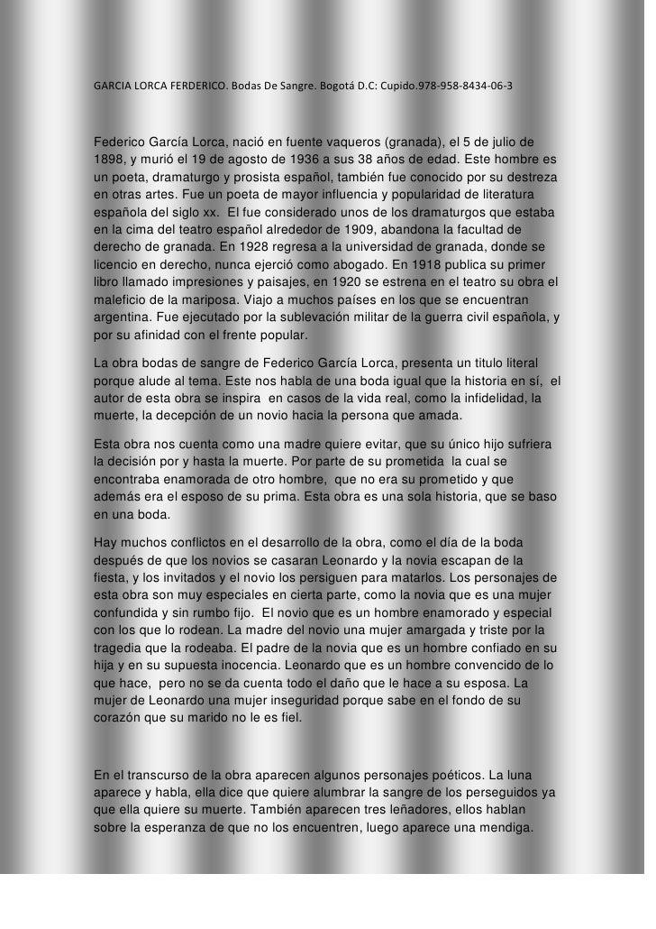 GARCIA LORCA FERDERICO. Bodas De Sangre. Bogotá D.C: Cupido.978-958-8434-06-3<br />Federico García Lorca, nació en fuente ...