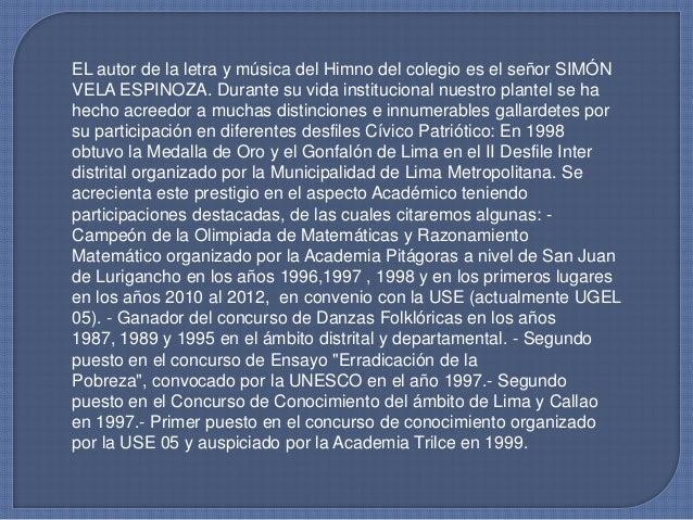 Primer puesto en Ciencia y Tecnología del 2003 a nivel de la UGEL05.- Segundo puesto en el concurso a nivel de docentes de...