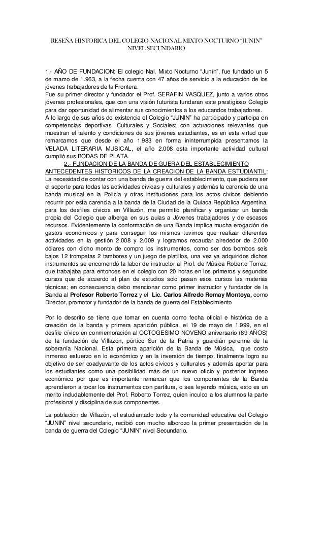 """RESEÑA HISTORICA DEL COLEGIO NACIONAL MIXTO NOCTURNO """"JUNIN""""                        NIVEL SECUNDARIO1.- AÑO DE FUNDACION: ..."""
