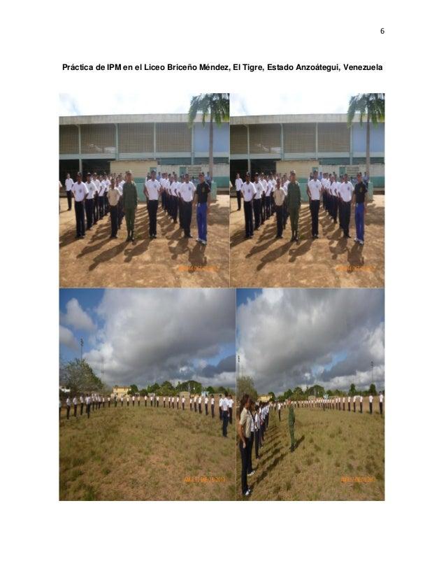 6 Práctica de IPM en el Liceo Briceño Méndez, El Tigre, Estado Anzoátegui, Venezuela