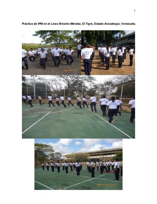 7 Práctica de IPM en el Liceo Briceño Méndez, El Tigre, Estado Anzoátegui, Venezuela.