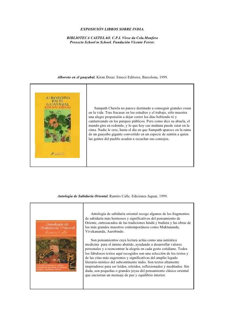 EXPOSICIÓN LIBROS SOBRE INDIA.        BIBLIOTECA CASTELAO. C.P.I. Virxe da Cela.Monfero        Proxecto School to School. ...