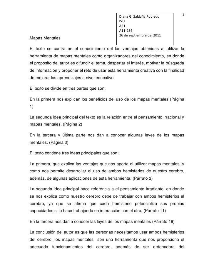 Diana G. Saldaña RobledoISTIA51A11-25426 de septiembre del 2011<br />Mapas Mentales<br />El texto se centra en el conocimi...
