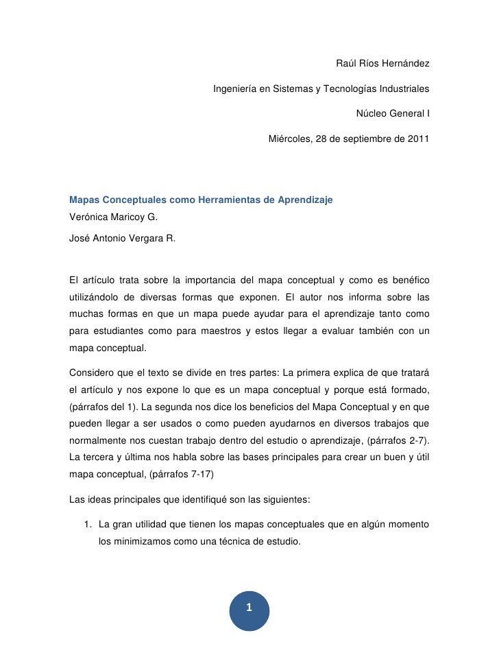 Raúl Ríos Hernández<br />Ingeniería en Sistemas y Tecnologías Industriales<br />Núcleo General I<br />Miércoles, 28 de sep...