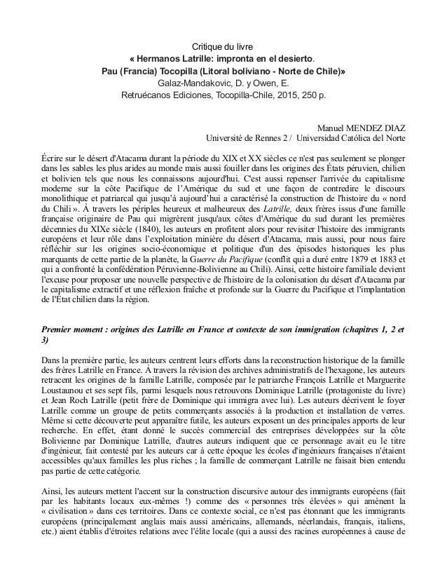 Critique du livre « Hermanos Latrille: impronta en el desierto. Pau (Francia) Tocopilla (Litoral boliviano - Norte de Chil...
