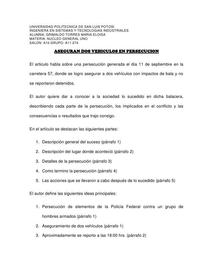 UNIVERSIDAD POLITECNICA DE SAN LUIS POTOSI<br />INGENIERA EN SISTEMAS Y TECNOLOGIAS INDUSTRIALES<br />ALUMNA: GRIMALDO TOR...