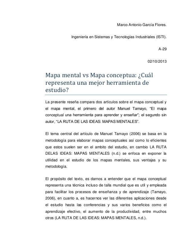 Marco Antonio García Flores. Ingeniería en Sistemas y Tecnologías Industriales (ISTI). A-29 02/10/2013  Mapa mental vs Map...