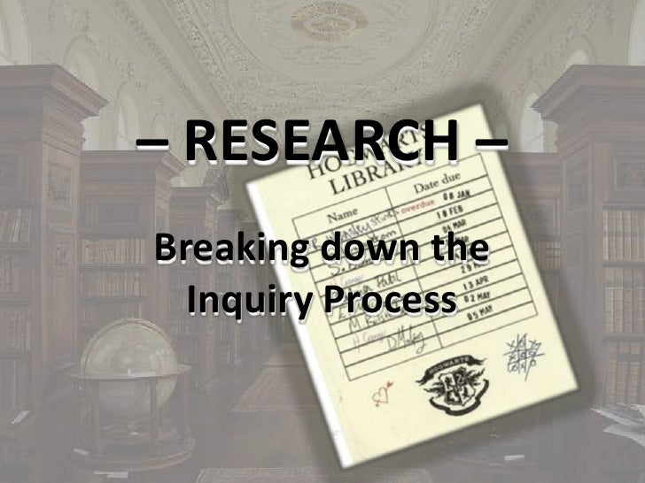 – RESEARCH – Breaking down the Inquiry Process<br />