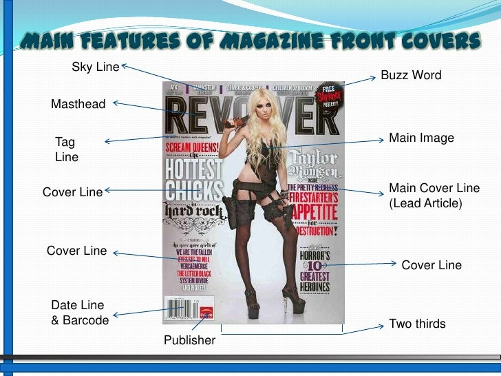 Main Features of Magazine Front Covers<br />Sky Line<br />Buzz Word<br />Masthead<br />Main Image<br />Tag Line<br />Main ...
