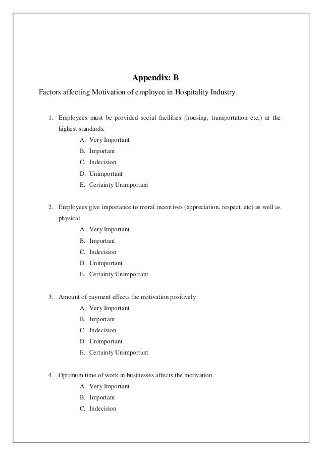 factors affecting employee s motivation in   16 appendix b factors affecting motivation of employee