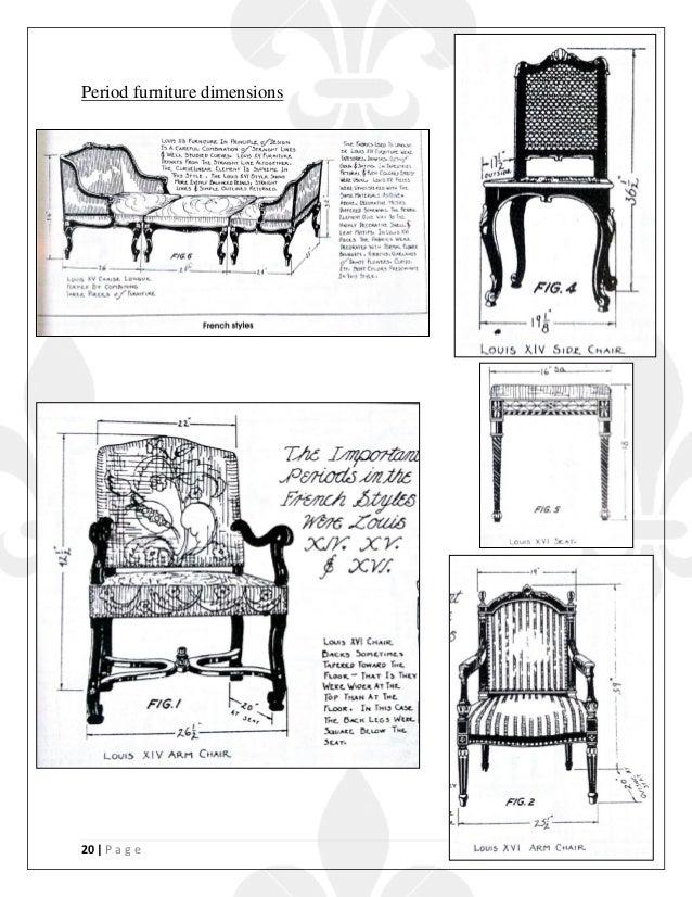 20   P a g e Period furniture dimensions