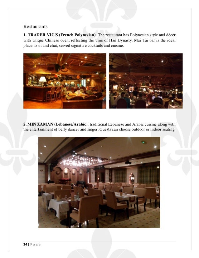 24   P a g e Restaurants 1. TRADER VIC'S (French Polynesian): The restaurant has Polynesian style and décor with unique Ch...