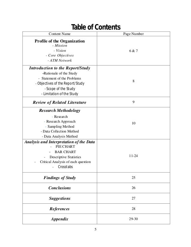 table of contents research paper