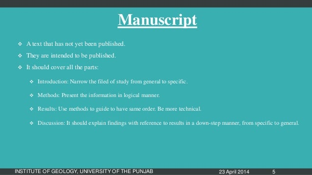 difference between manuscript and research paper