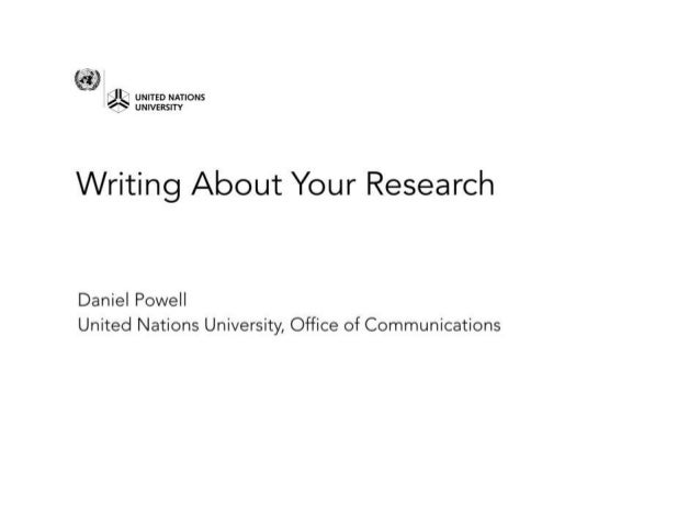 Research communication, Daniel Powell, UNU-IAS