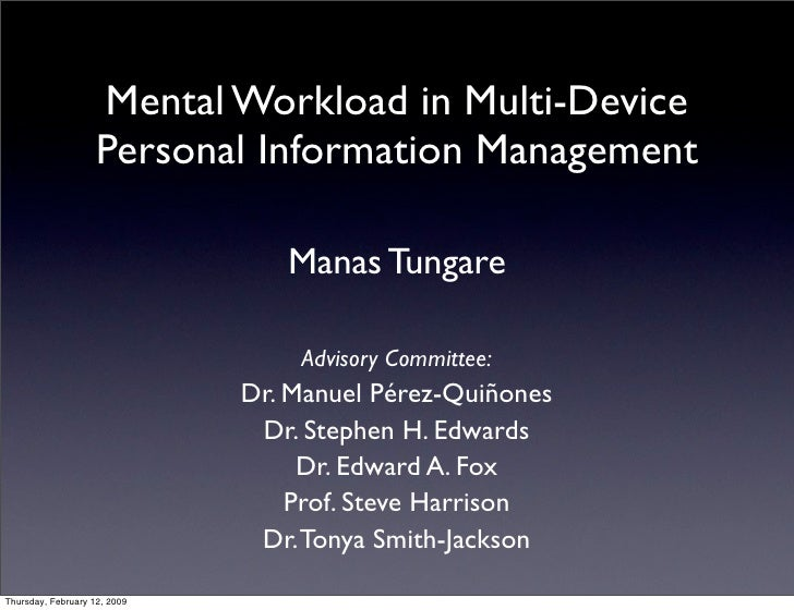 Mental Workload in Multi-Device                     Personal Information Management                                   Mana...