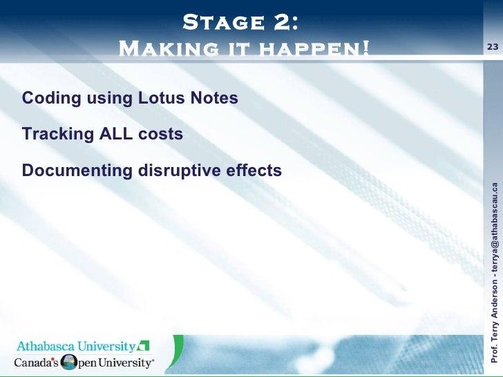 Stage 2:  Making it happen! <ul><li>Coding using Lotus Notes </li></ul><ul><li>Tracking ALL costs </li></ul><ul><li>Docume...