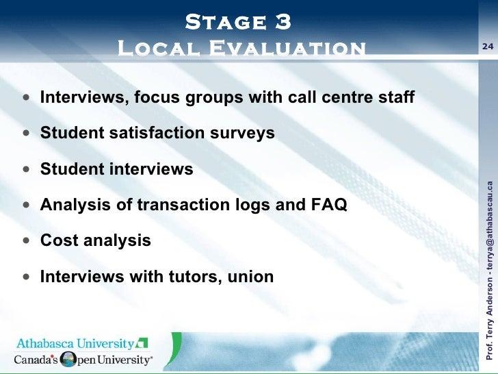 Stage 3  Local Evaluation <ul><li>Interviews, focus groups with call centre staff </li></ul><ul><li>Student satisfaction s...