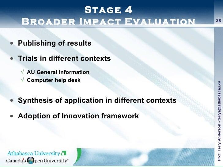 Stage 4 Broader Impact Evaluation <ul><li>Publishing of results </li></ul><ul><li>Trials in different contexts </li></ul><...