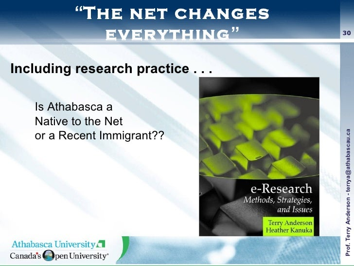 """"""" The net changes everything """" Including research practice . . .   Is Athabasca a  Native to the Net  or a Recent Immigran..."""