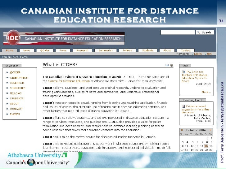CANADIAN INSTITUTE FOR DISTANCE EDUCATION RESEARCH